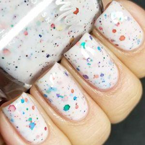 Oh Splat White Glitter Nail Polish
